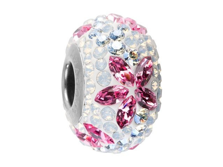 Swarovski 82093 14mm BeCharmed Pave Flower Garland Bead Light Rose, Crystal Moonlight, White Opal