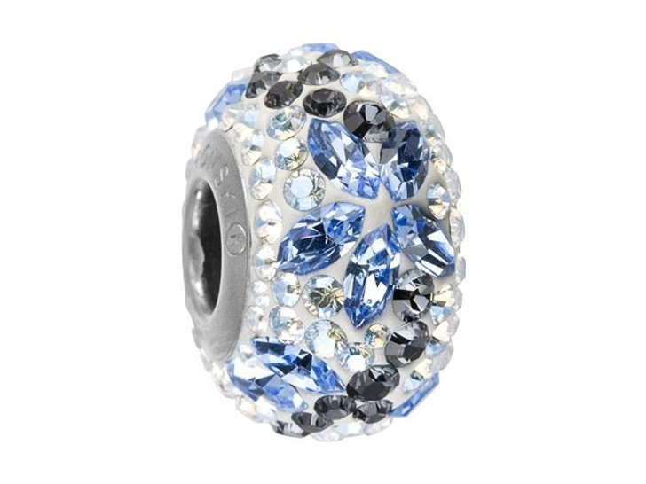 Swarovski 82093 14mm BeCharmed Pave Flower Garland Bead Light Sapphire, Crystal Silver Night, Crystal Moonlight