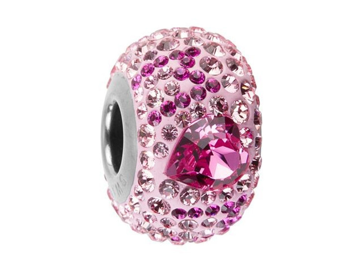 Swarovski 82103 14mm BeCharmed Pave Best Mom Bead Rose, Fuchsia, Light Rose