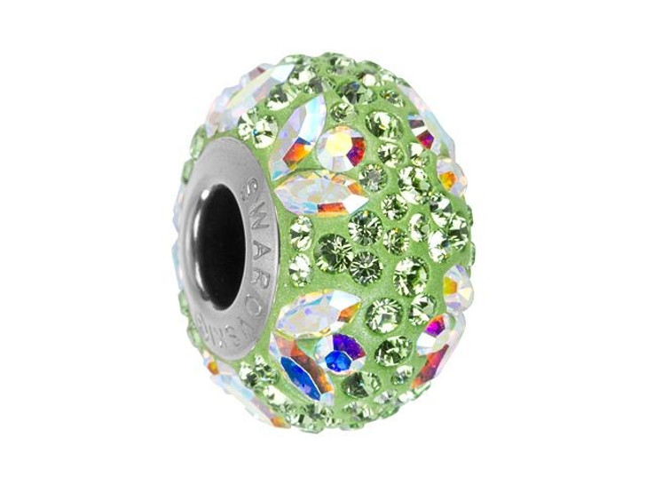 Swarovski 82112 14mm BeCharmed Pave Flower Bead Crystal AB and Peridot