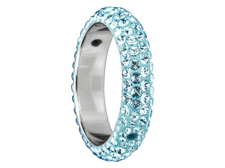 Swarovski 85001 18.5mm Crystal BeCharmed Pave Thread Rings - Two Holes Aquamarine