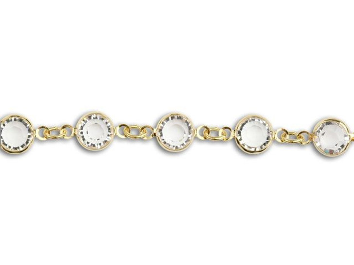Swarovski 90005 11.5mm Gold-Plated Cuplink Chain Crystal by the Foot