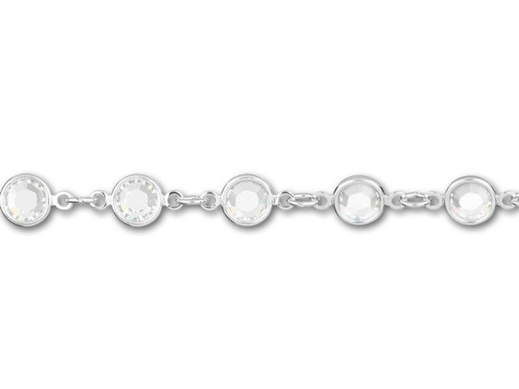 Swarovski 90005 11.5mm Rhodium-Plated Cuplink Chain Crystal by the Foot