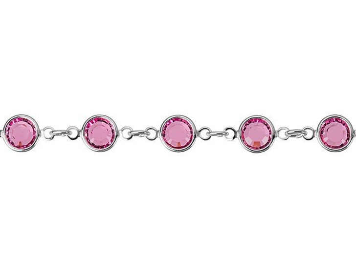 Swarovski 90005 11.5mm Rhodium-Plated Cuplink Chain Rose by the Foot