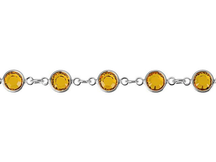 Swarovski 90005 11.5mm Silver-Plated Cuplink Chain Topaz by the Foot