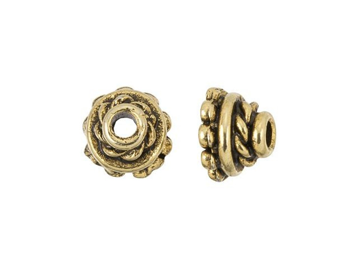 5.5mm Antique Gold-Plated Pewter Decorative Bead Cap