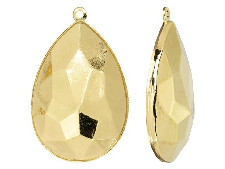 Swarovski Gold-Plated Charm Setting for 4327 30mm Pear Fancy Stone
