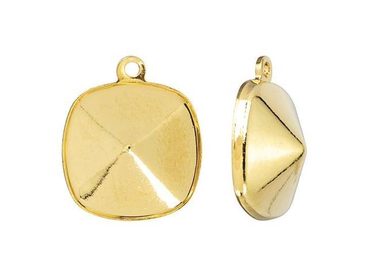 Swarovski Gold-Plated Charm Setting for 4470 12mm Cushion Fancy Stone