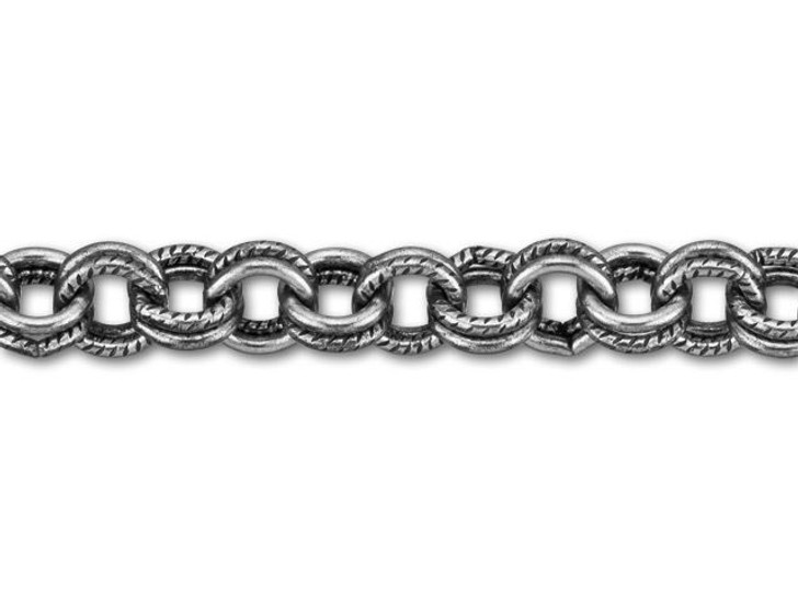 5mm Antique Silver-Plated Brass Textured Double Cable Chain by the Foot