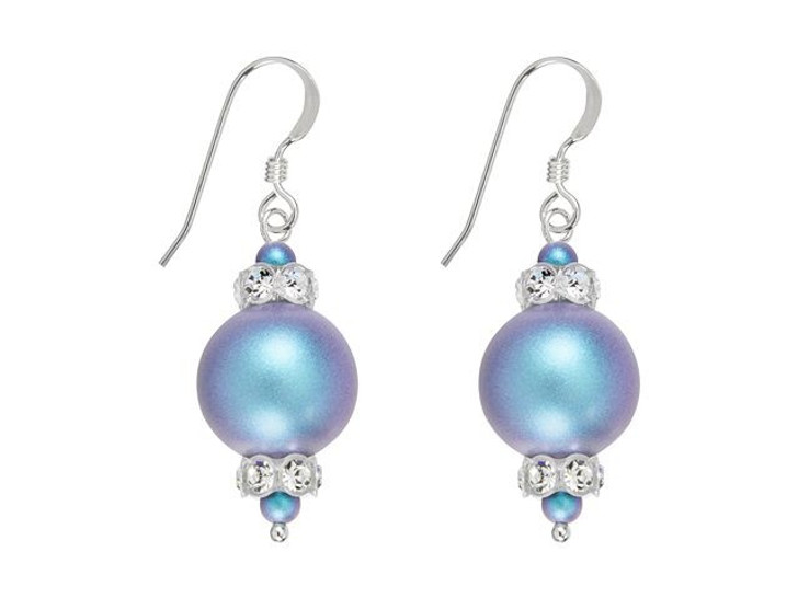 Swarovski Pearl Panache Earrings Kit - Iridescent Light Blue