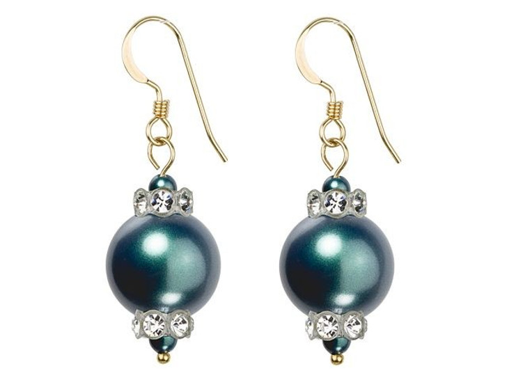 Swarovski Pearl Panache Earrings Kit - Iridescent Tahitian Look in Gold