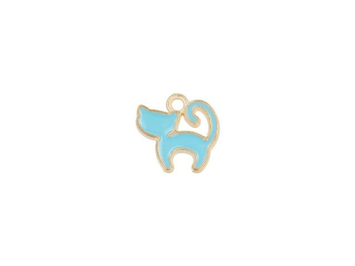Sweet & Petite Charms 13 x 13mm Light Blue Kitty Cat (10pc Pack)