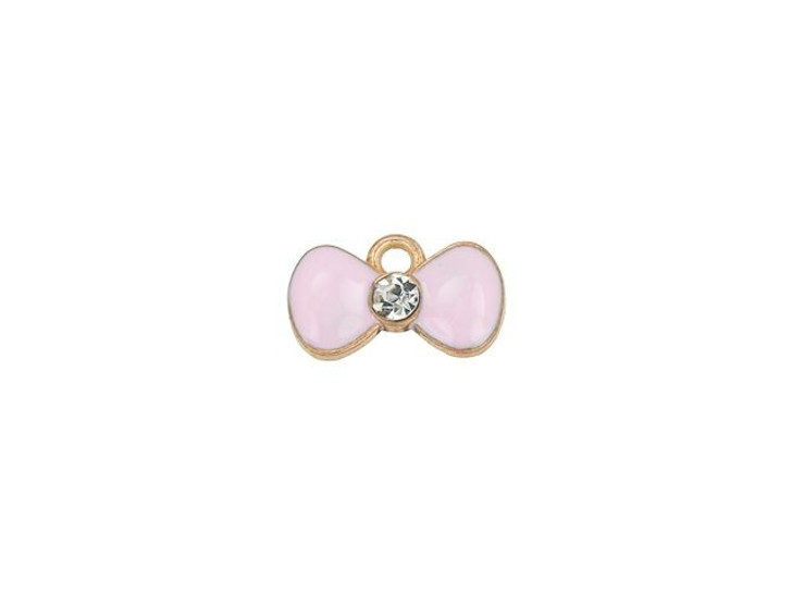 Sweet & Petite Charms 15 x 8mm Pink Bow (10pc Pack)