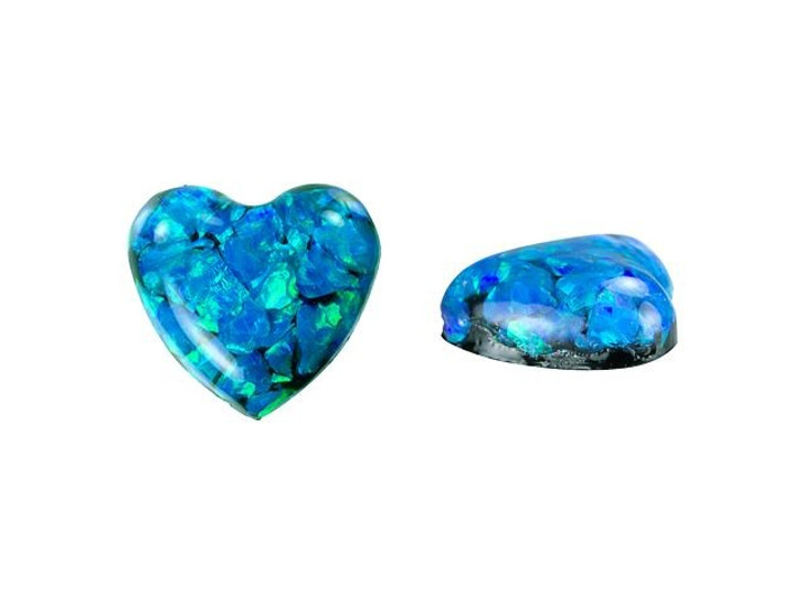 Synthetic Blue Opal Heart Cabochon