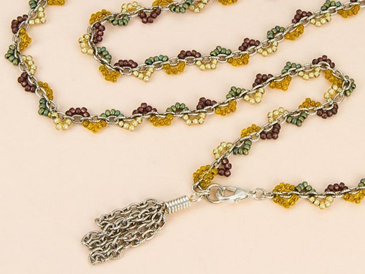 Tapestry Scallop Wrap Necklace/Bracelet Combo Kit with Silver Chain