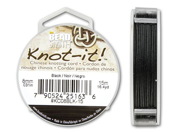 The BeadSmith .8mm Black Chinese Knotting Cord - 49.2 Feet