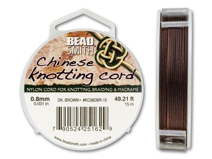 The BeadSmith .8mm Dark Brown Chinese Knotting Cord - 49.2 Feet