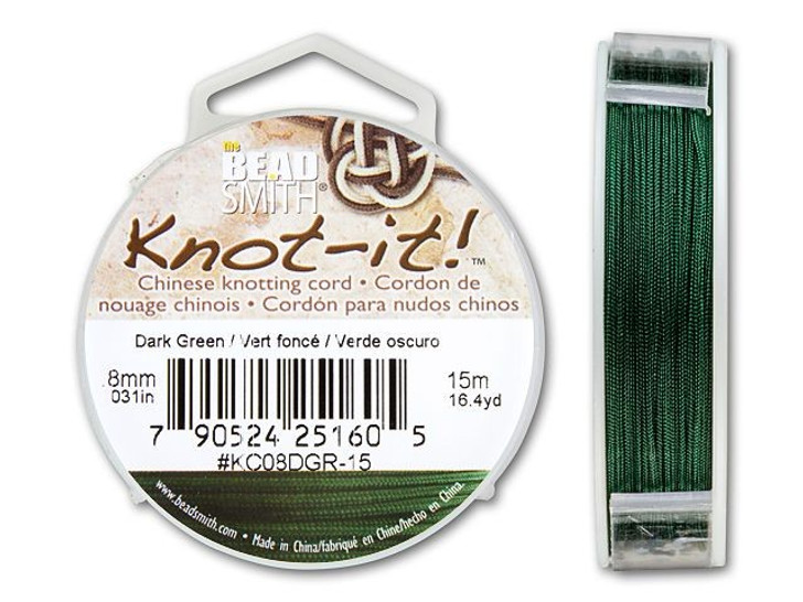 The BeadSmith .8mm Dark Green Chinese Knotting Cord - 49.2 Feet
