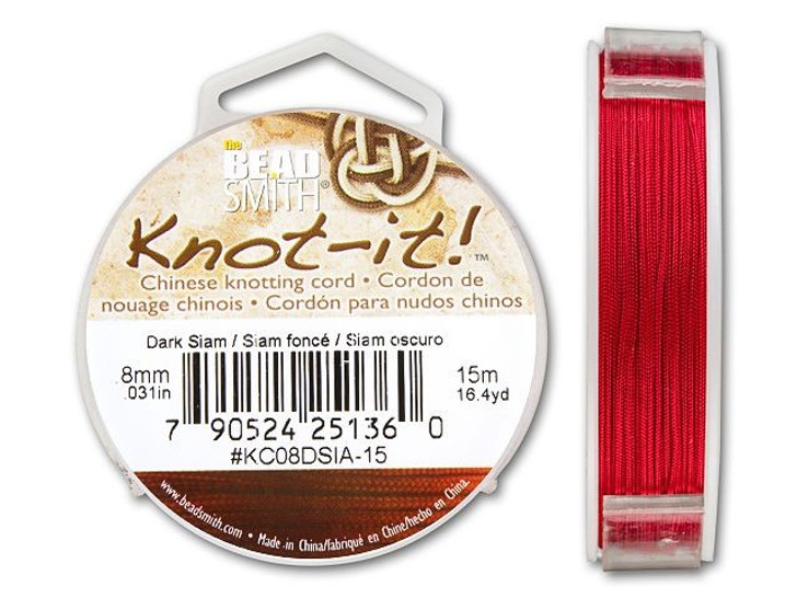 The BeadSmith .8mm Dark Siam Chinese Knotting Cord - 49.2 Feet