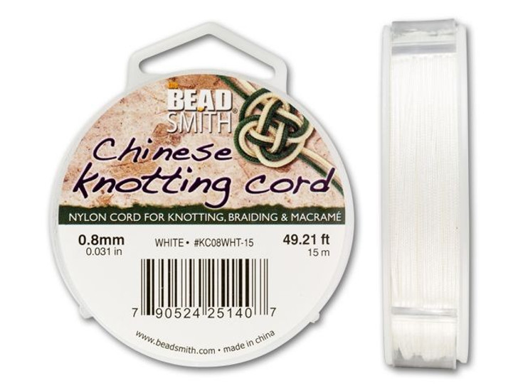 The BeadSmith .8mm White Chinese Knotting Cord - 49.2 Feet