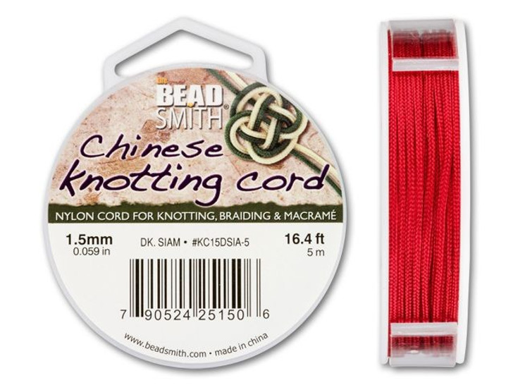 The BeadSmith 1.5mm Dark Siam Chinese Knotting Cord - 16.4 Feet