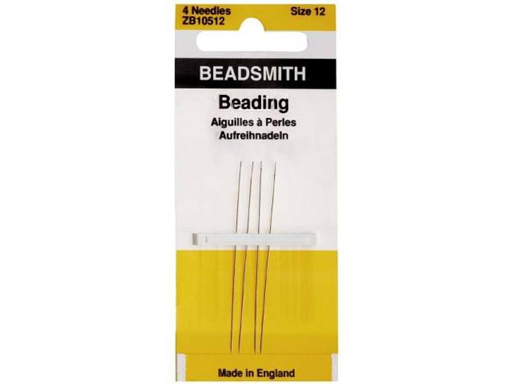 The BeadSmith 2-Inch 12 Long English Beading Needles 4-Pack