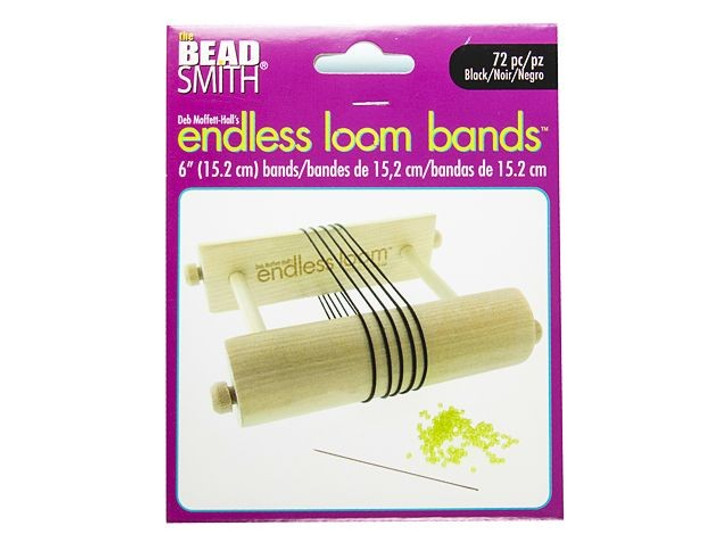 The Beadsmith Endless Loom Bands 6-Inch Black (72 Pack)