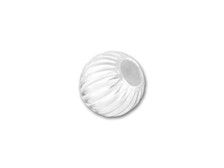5mm Sterling Silver Corrugated Round Bead