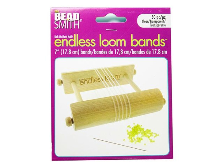 The Beadsmith Endless Loom Bands 7-Inch Clear (50 Pack)