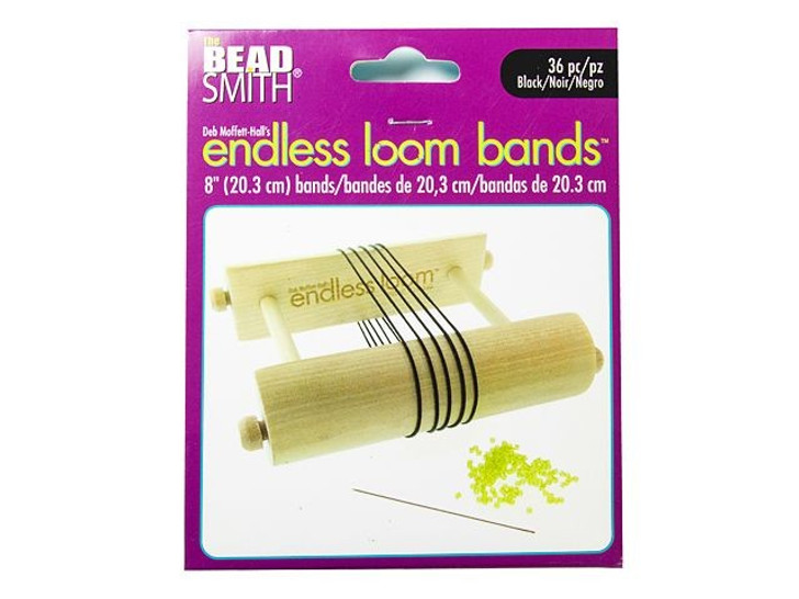 The Beadsmith Endless Loom Bands 8-Inch Black (36 Pack)