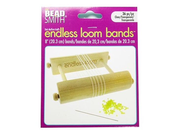 The Beadsmith Endless Loom Bands 8-Inch Clear (36 Pack)