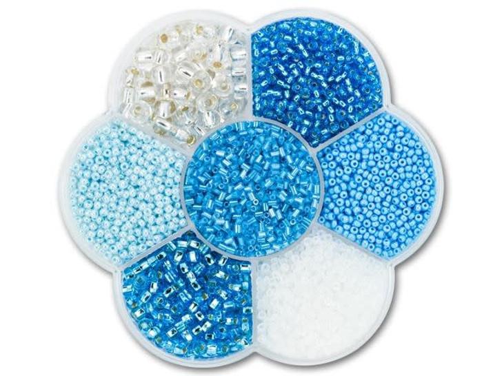 The BeadSmith Flower Box Seed Bead Mix Assorted Aquas