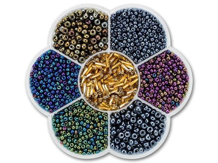 The BeadSmith Flower Box Seed Bead Mix Assorted Metallics