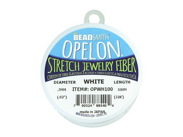 The BeadSmith Opelon White .7mm Stretch Jewelry Fiber Cord (100 Meters)