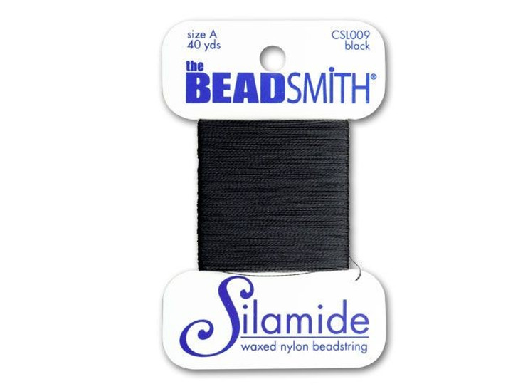 The BeadSmith Silamide 40-Yard Card Black