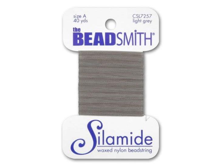 The BeadSmith Silamide 40-Yard Card Light Grey