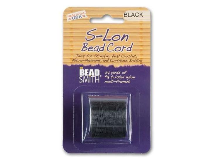 The BeadSmith S-Lon (Super-Lon) Bead Cord Black 77 yard Spool