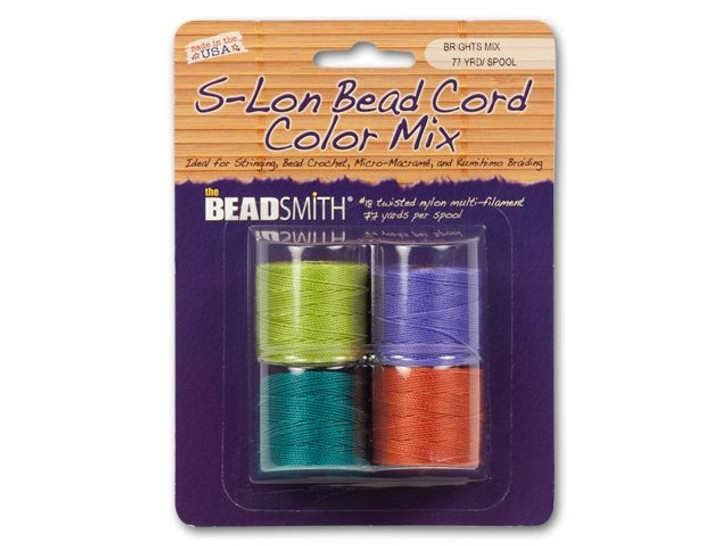 The BeadSmith S-Lon (Super-Lon) Bead Cord Bright Mix - 4 Spools, 77 yards ea.