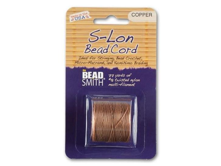 The BeadSmith S-Lon (Super-Lon) Bead Cord Copper 77-Yard Spool