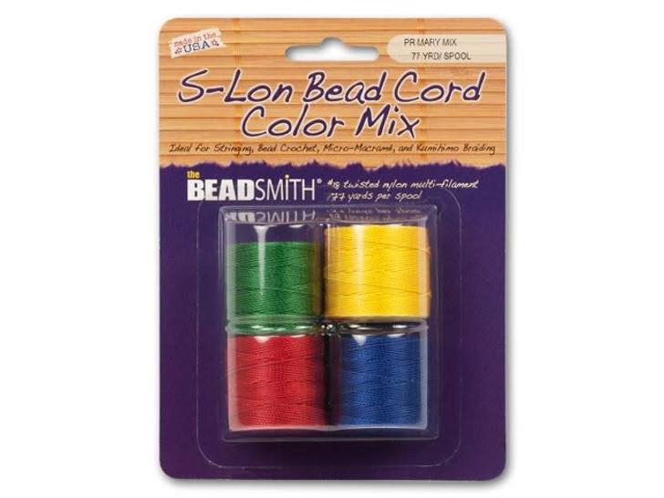 The BeadSmith S-Lon (Super-Lon) Bead Cord Primary Mix - 4 Spools, 77 yards ea.