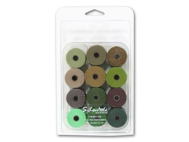 The BeadSmith S-Lon (Super-Lon) Bead Cord Summer Mix - 12 Spools, 77 yards ea.