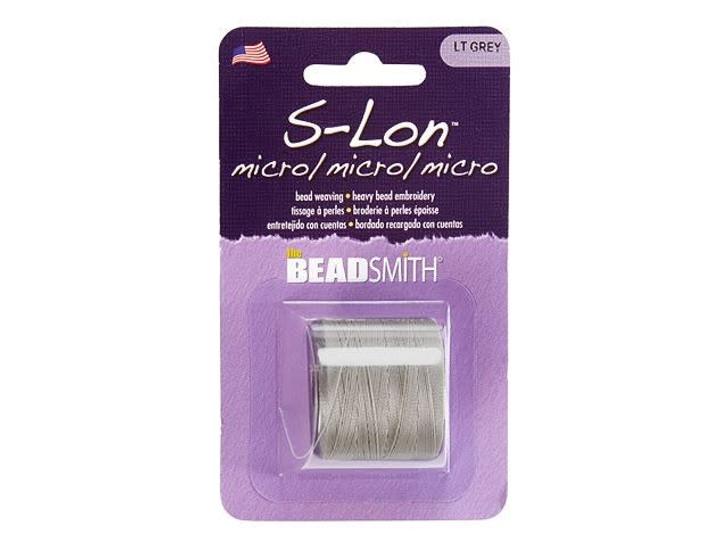 The Beadsmith S-Lon (Super-Lon) Micro Bead Cord Light Grey 287-Yard Spool