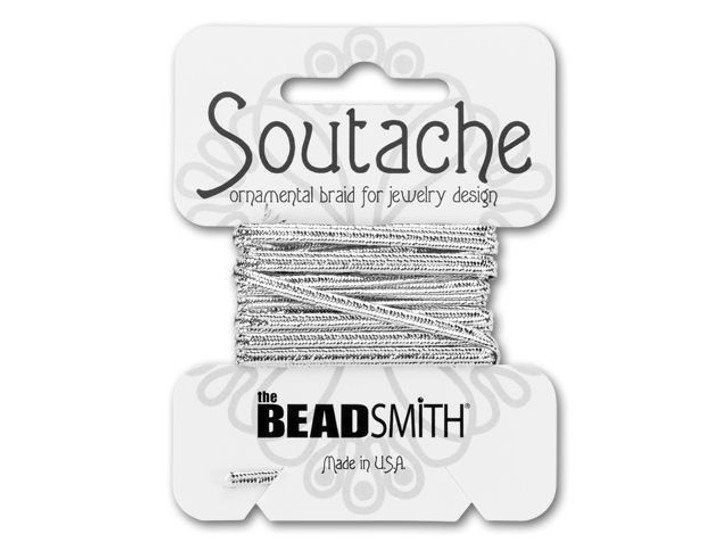The BeadSmith Soutache Ornamental Rayon Braid 3 yd - Metallic Silver