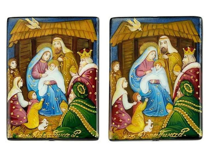 Three Kings Nativity Story 30 x 40mm Black Agate Bead
