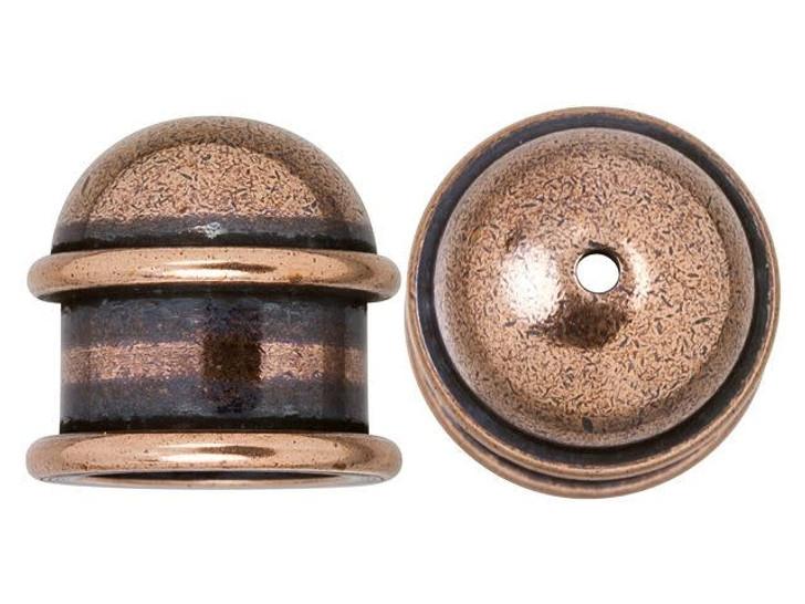 TierraCast 10mm Antique Copper-Plated Brass Capitol Cord End Cap