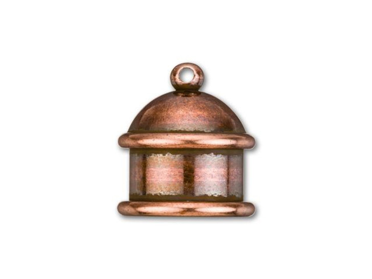 TierraCast 10mm Antique Copper-Plated Brass Pagoda Cord End Cap