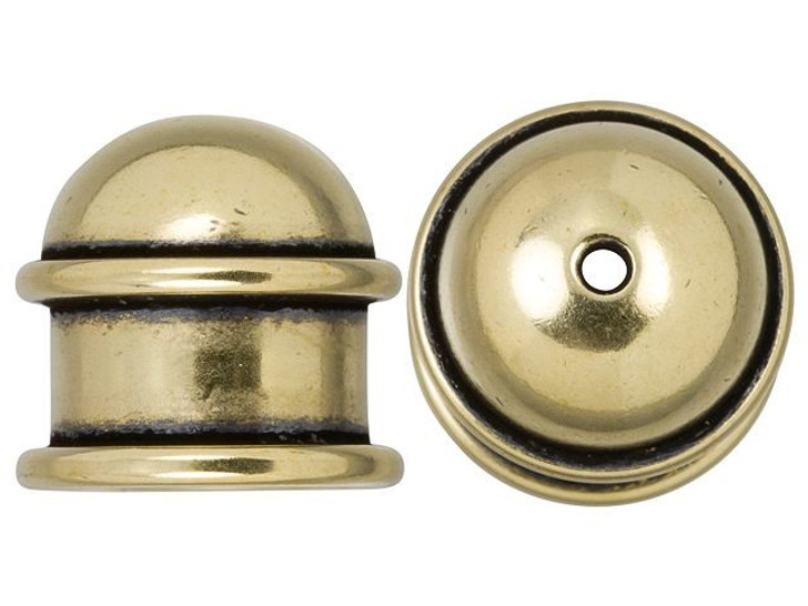 TierraCast 10mm Brass Oxidized Brass Capitol Cord End Cap