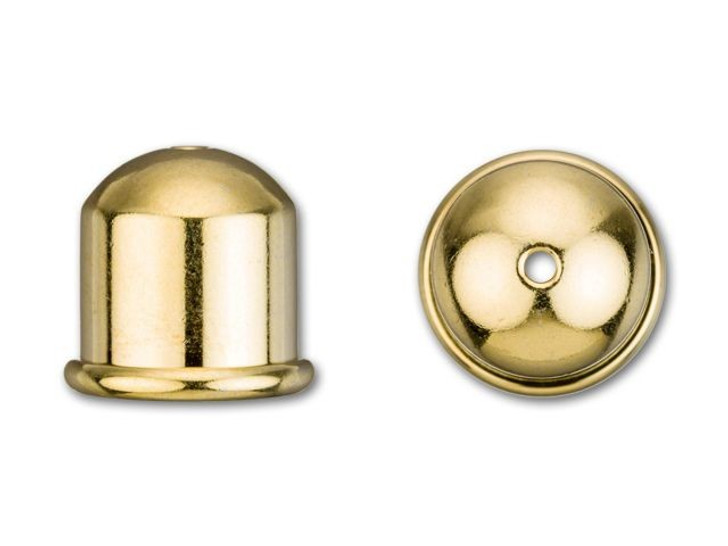 TierraCast 10mm Gold-Plated Brass Cupola Cord End Cap