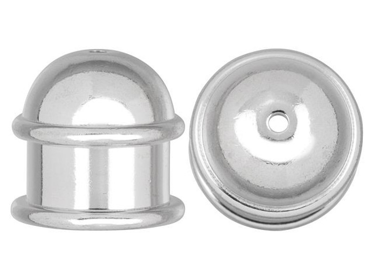 TierraCast 10mm Rhodium-Plated Brass Capitol Cord End Cap