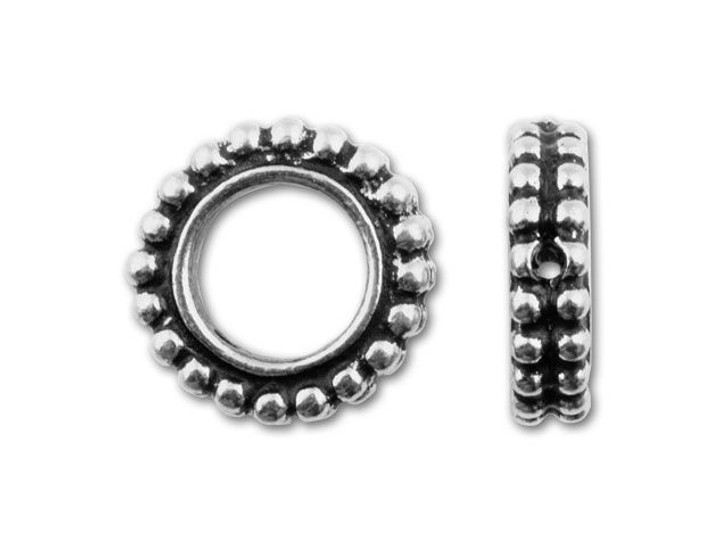 TierraCast 11mm Antique Silver Round Granulated Bead Frame